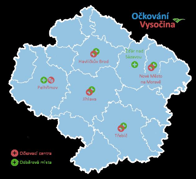 Mapa očkovacích center Vysočina