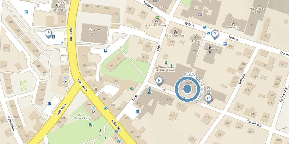 Mapa Očkovací centrum Chotěboř